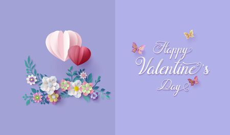 Greeting card Love and Valentine day,illustration with a paper art collage style