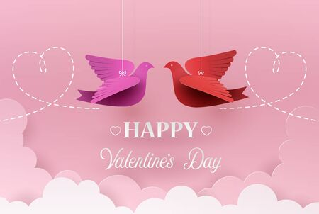 Concept of valentine day with paper plane flying on the book , Paper art 3d .