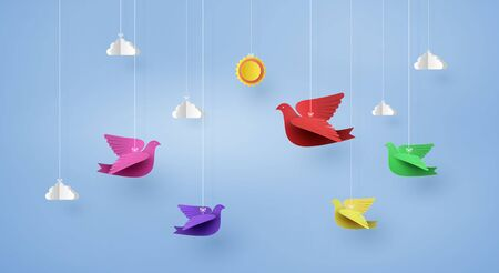 origami made colorful paper bird flying on blue sky  with clound . paper art and craft style. Illustration