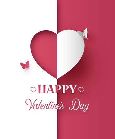 Illustration of happy valentine day, Paper art and craft style. 向量圖像