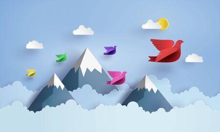 Origami machte bunten Papiervogel, der am blauen Himmel über moutian mit Clound fliegt. Papierkunst und Handwerksstil. Vektorgrafik