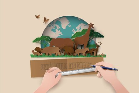 World Wildlife Day with the animal in forest , Paper cut style.