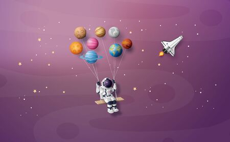 Astronaut floating in the stratosphere . Paper art and craft style. Vector Illustration