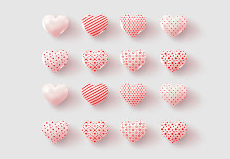collection icon with gloss and matte ralistic hearts. 免版税图像