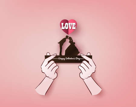 Illustration of love and valentine's Day,  with lover kissing.paper art and origami style.