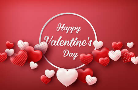 Happy Valentine's Day sale banner with hearts balloons.Vector illustration.