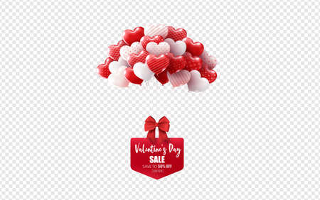 illustration of love and valentine day,hot air balloon on white. Imagens