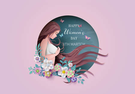 International Women's Day 8 march with frame of flower and leaves , Paper art style.