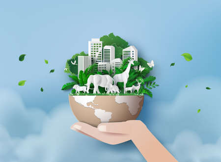 Eco concept and green power with happy family in green city .paper cut vector illustration