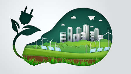 Illustration of ecology  and environment with green city. Paper cut. Ilustração