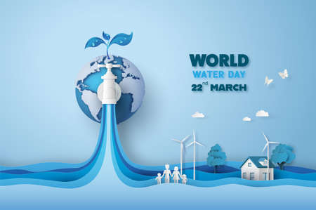concept of ecology and world water day . Paper art ,paper cut , paper collage style with digital craft . Imagens