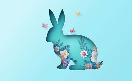 Illustration of Easter day with egg and rabbit ,paper art and digital craft style. Imagens