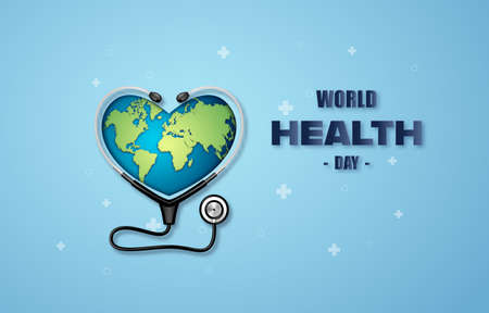 World Health Day concept ,paper art and digital craft style.