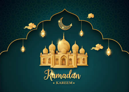 Ramadan Kareem greeting card  with mosque and golden shiny moon with lantern,paper cut , paper collage style with digital craft . Ilustração