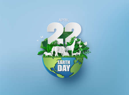 World environment and earth day concept with animals ,paper cut , paper collage style with digital craft .