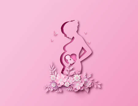 Happy Mother's day greeting card with pregnant woman.paper cut , paper collage style with digital craft .