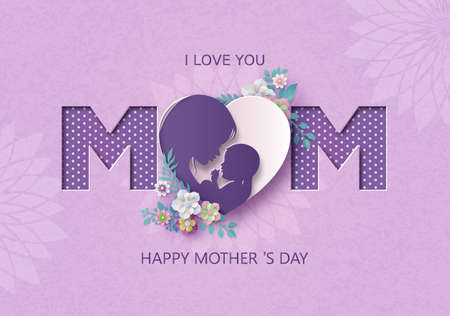 Happy Mother's day greeting card with pregnant woman.