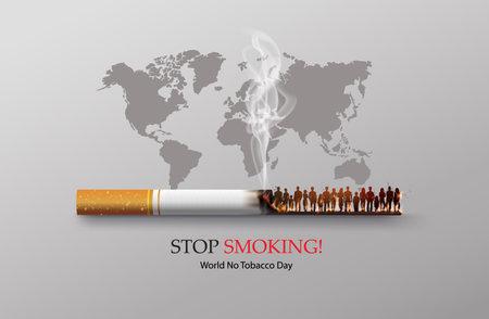 concept of no smoking and World No Tobacco Day with human smoking.