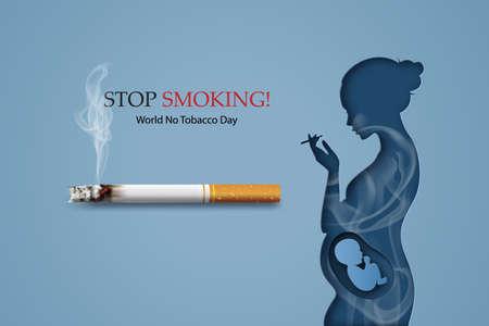 Concept of no smoking and World No Tobacco Day with human smoking. Ilustração