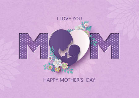 Happy Mother's day greeting card with mom and baby