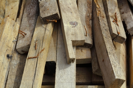 lumber industry: Wood, rusty nails, construction