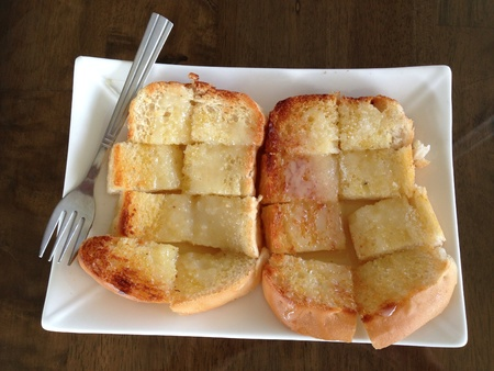 sweetened: Toast with butter sugar and sweetened milk