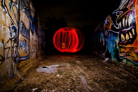 spinning fire by use steelwool