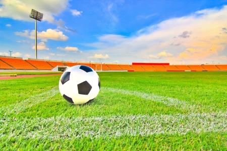 football on the field corner