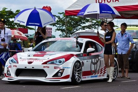 KORAT, THAILAND - SEP 1 : Toyota Motorsport 2012 round 4 Vios one make race stock car at His majesty the King 80th birthday anniversary stadium on September 1, 2012 in Nakhonratchasima,Thailand Stock Photo - 15079980