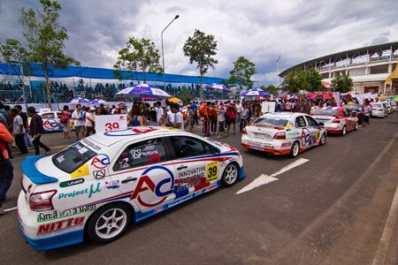 majesty: KORAT, THAILAND - SEP 1 : Toyota Motorsport 2012 round 4 Vios one make race stock car at His majesty the King 80th birthday anniversary stadium on September 1, 2012 in Nakhonratchasima,Thailand