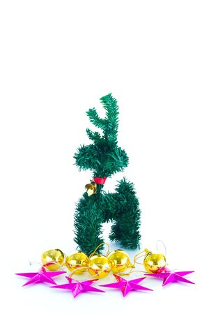 pinetree: reindeer christmas pinetree on white background Stock Photo