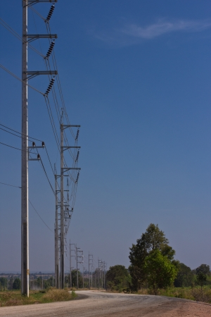 high voltage electricity pole in blue sky photo
