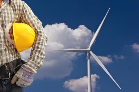engineer in wind turbine power generator station