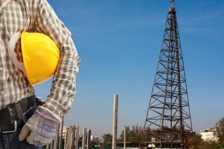 Pile driver  works to set precast concrete piles in a construction area Standard-Bild