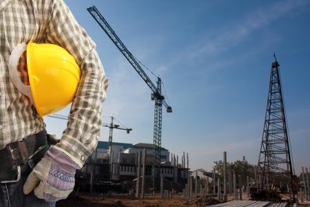 Pile driver  works to set precast concrete piles in a construction area 4