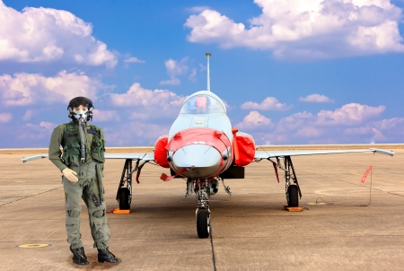 airforce: model fighter pilot and military airplane F16