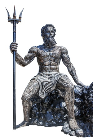 Sculpture Poseidon God made from scrap metal on white background with work path