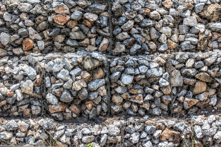 Natural stones in retain A Steel mesh gabion wall photo
