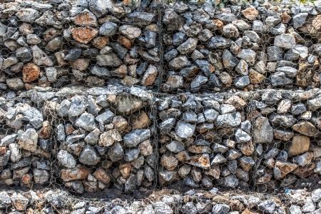 gabion: Natural stones in retain A wire mesh gabion wall