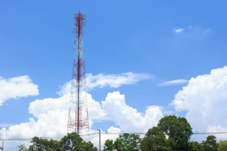 transmit: Telecommunication tower  Used to transmit mobile phone signals with blue sky Stock Photo