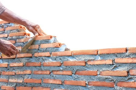 bricklayer  builder wall isolated on white Standard-Bild