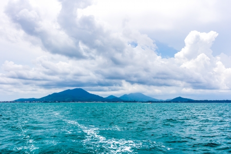 View of sea and mountains from ferry Samed island , Thailand