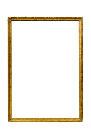 gilding: old empty photo frame wooden retro on a white background with clipping path Stock Photo