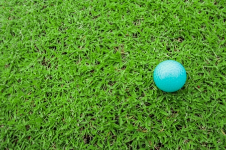 golf ball on a tee in green grass course photo