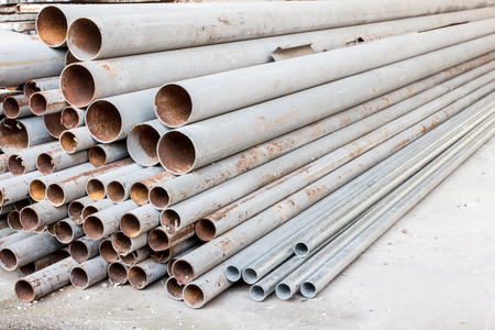 a group of old metal pipes