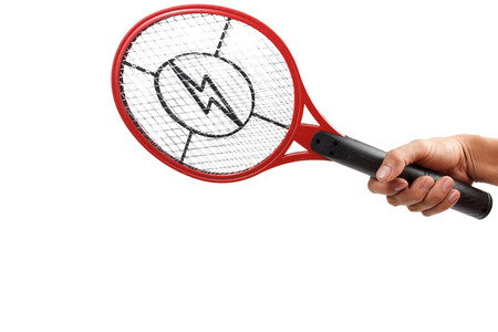 hand holding mosquito killing racket over white background with clipping path