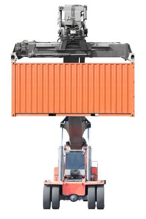 Gabelstapler Container isoliert auf weißem Hintergrund mit Clipping-Pfad