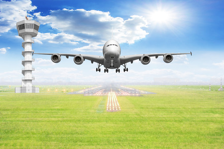 front view passenger aircraft takeoff on runway of airport