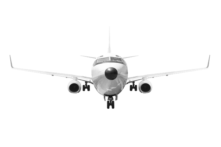 Front view Passenger aircraft isolated on white background with clipping path