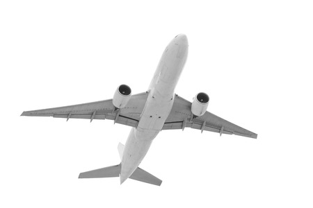 Real jet passenger aircraft taking off isolated on white background with clipping path Standard-Bild